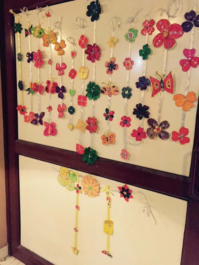 Diwali decorations made by the children.  Photo credit: Anjali Ahuja