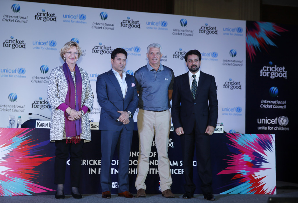 From left: Karin Hulshof, UNICEF Regional Director for South Asia, Sachin Tendulkar, UNICEF Goodwill Regional Ambassador for South Asia, Dave Richardson and ICC Chief Executive Anurag Thakur, BCCI Honorary Secretary at the launch of the Cricket for Good and Team Swachh campaign. Photo credit: UNICEF