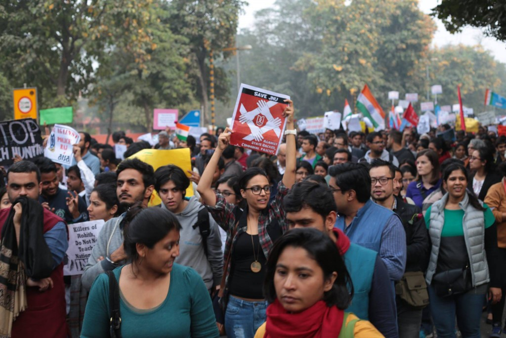 The JNU solidarity march on February 18.  Photo credit: Release JNUSU president Facebook page