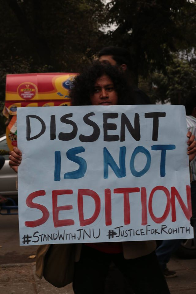 A student holding up a poster at the JNU solidarity march. Photo credit: Release JNUSU president Facebook page.