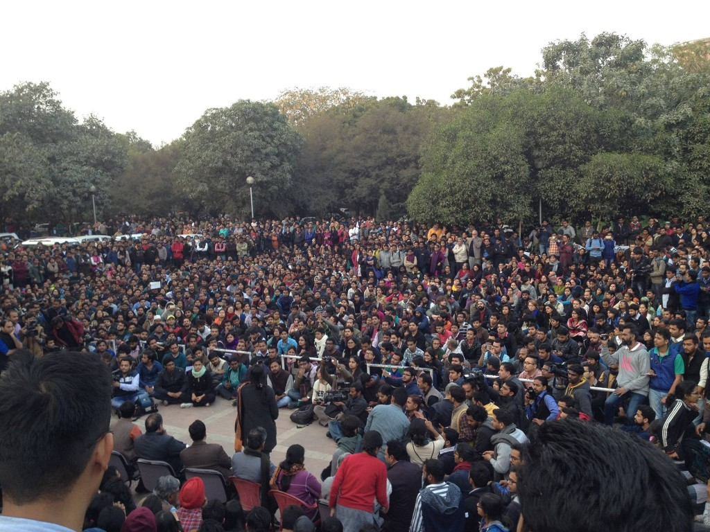 A meeting of the students in the JNU campus. Photo credit: Release JNUSU president Facebook page
