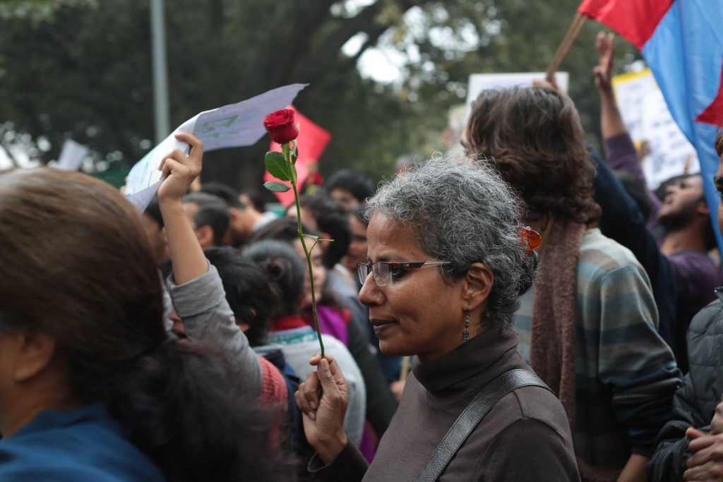 The JNU solidarity march. Photo credit: Release JNUSU president Facebook page