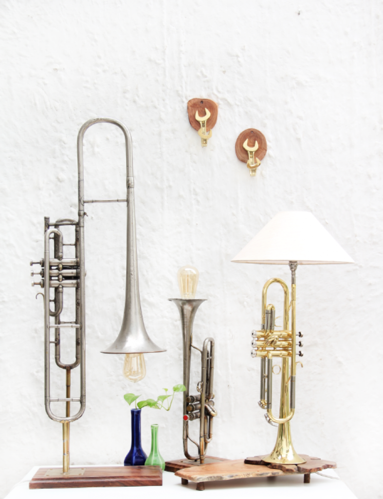 Apart from jewellery, Advaeita Mathur has also created table lamps from salvaged music instruments.