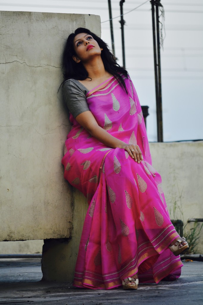 After the birth of her first child Palki Sharma Upadhyay started wearing saris to work regularly. What started off as making excuses to justify the traditional dressing, became a need to change the mindset of how people perceived this fashionable and versatile garment.  Photo credit: Sanket Upadhyay