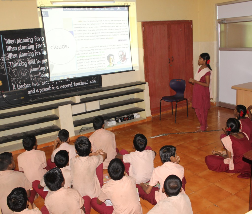ReadToMe software in use in a class in CMS Villivakam, Chennai.
