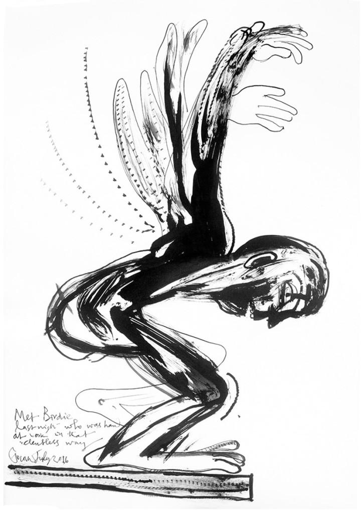 Birdie's Dream 1, Ink on Paper, July 2016