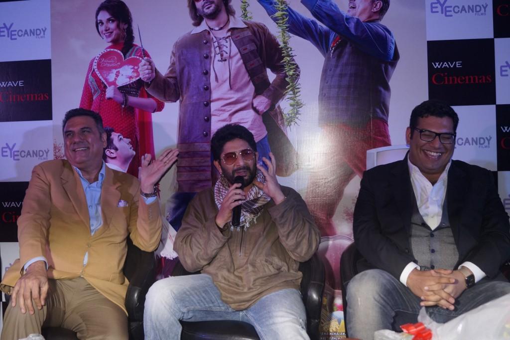 Boman Irani, Arshad Warsi and Kayoze Irani promoting their film The Legend of Michael Mishra at Wave Cinemas, Noida.