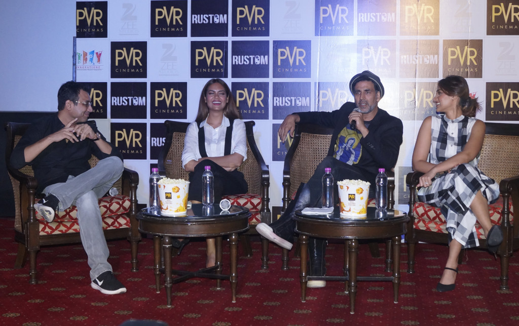 Producer Neeraj Pandey and actors Esha Gupta, Akshay Kumar and Ileana D'Cruz were at PVR Plaza to promote their film, Rustom.