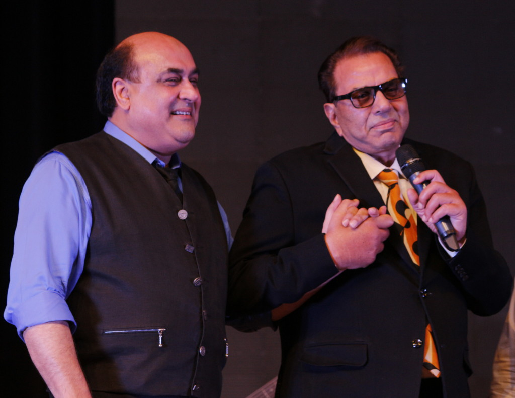 """Rafi was my lucky charm,"" said Dharmendra while paying tribute to Mohd Rafi. Seen here with Rafi's son Shahid."