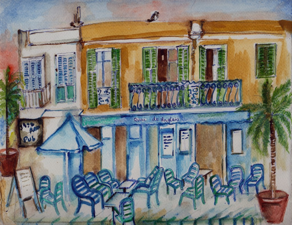 A Cafe in the Promenade Anglaise, Nice, France.
