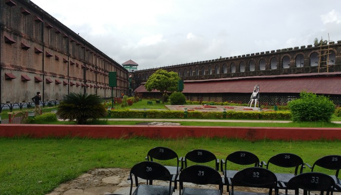 The place in the Cellular Jail where the Light and Sound Show takes place in the evening.