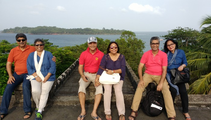 The three friends with their better halves  atop the Cellular Jail.