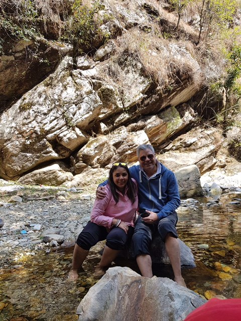 The water at Bhalu Gaad waterfalls is ice cold and clear.