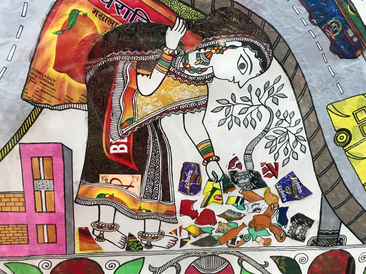 Pushpa Kumari has creatively incorporated plastic food and drink packaging wrappers and plastic shopping bags in her Madhubani paintings. Photo Credit: Navraj Bhatia